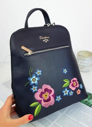 #9109 black david jones женский рюкзак с красивой вышивкой