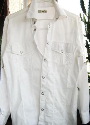 Белая мужская рубашка на кнопках с длинным рукавом р м или  46-48
