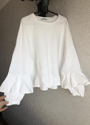 Zara белый реглан з объемными рукавами