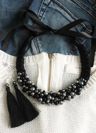 Набор украшений, ожерелье, колье коса, сережки кисточки, кольє