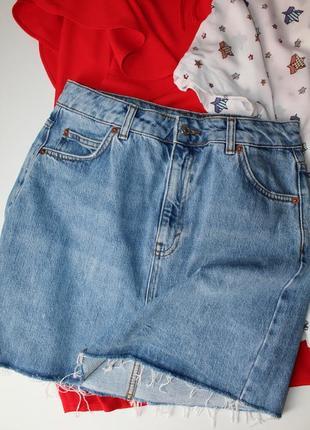 Джинсовая юбка topshop с фабрично необработанным низом размер 10.