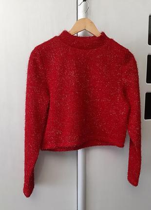 Яркий укороченный свитер h&m