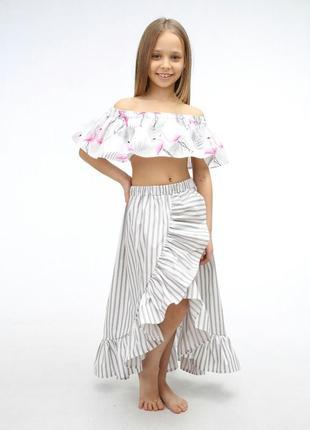 Яркий топ юбка комплект на лето девочке хлопок