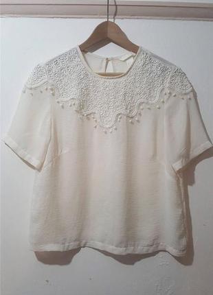 Блуза шифоновая с вышивкой белая кремовая h&m conscious оригинал летняя блузка