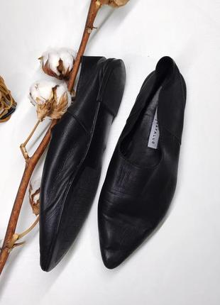 Кожаные чешки мюли с острым носком