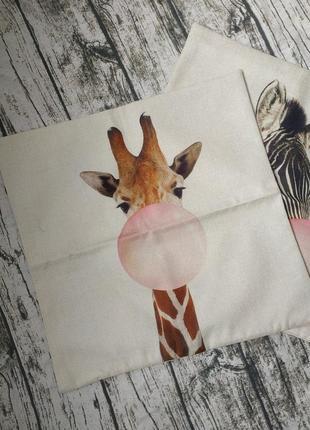 Новая плотная декоративная наволочка 45*45см с жирафом