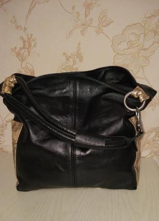 Дизайнерская сумка шопер ручной работы кожа и с натуральными вставками с питона