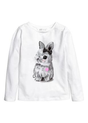 Милейшая футболка с длинным рукавом и кроликом лонгслив хлопок от h&m