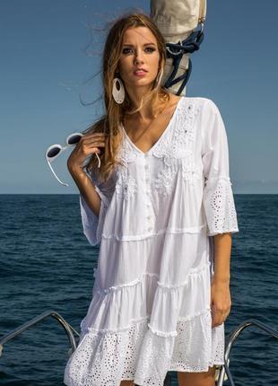 Новинка 2019 шикарное летнее платье-туника с прошвой код 1610