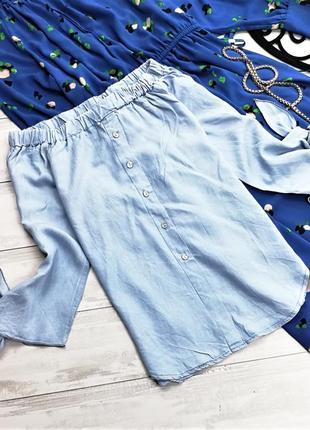 Светло-голубая блуза на плечики 184332 размер s/m