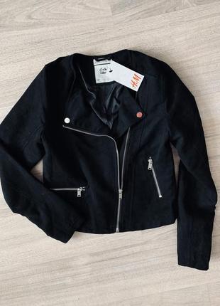 Куртка косуха замшевая h&m на девочку чёрная