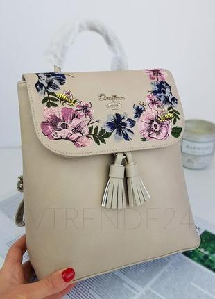 #5862-3 camel david jones женский рюкзак с красивой вышивкой!