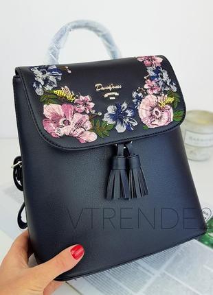 #5862-3 black david jones женский рюкзак с красивой вышивкой!