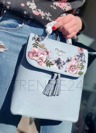 #5862-3 blue david jones женский рюкзак с красивой вышивкой