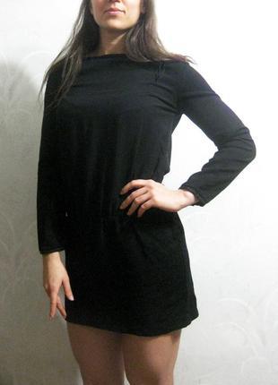 Платье туника zara чёрное мини короткое с кожаными вставками