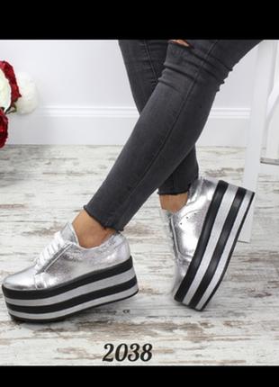 Слипоны туфли криперы на высокой платформе