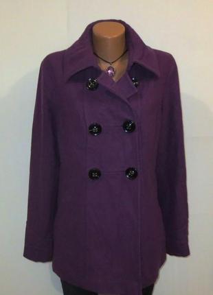 Шерстяное стильное фиолетовое пальто от esprit размер: 52-xl