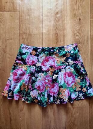 Летняя юбка мини цветочный принт abercrombie & fitch