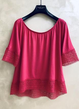 Блуза блузка футболка с кружевом george оригинал летняя розовая фуксия вискоза
