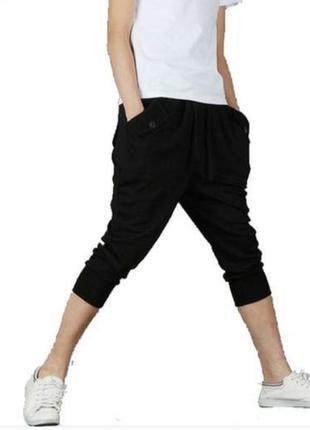 Укороченные модные спортивные штаны зауженные к низу