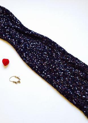 Темно-синее длинное платье миди в пайетки