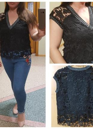 Черная короткая кружевная блуза zara
