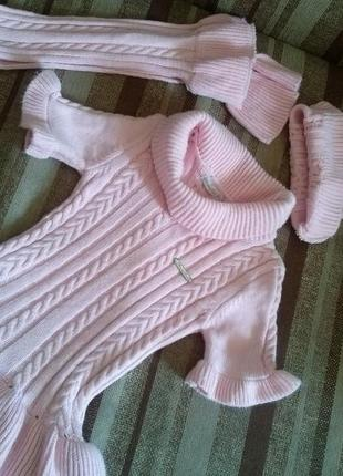 Вязаное платье, туника с шапкой и шарфом на девочку 2-3 года, 92-98 размер