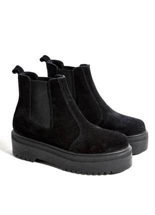 Теплые замшевые ботинки на платформе urban outfitters