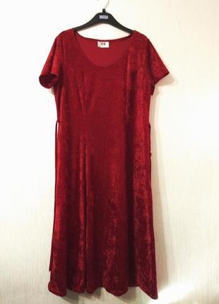 Шикарное длинное красное бархатное платье ретро стиль xl-xxl-16-14