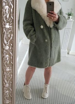 Шуба пальто длинный полушубок натуральная овчина мех💯