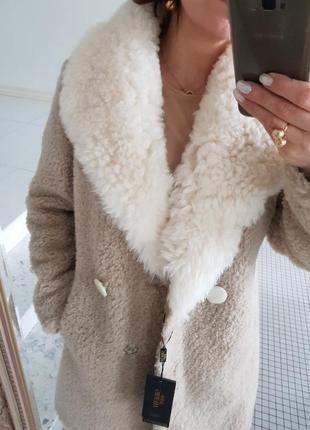 Шуба полушубок белый воротник меховое пальто овчина