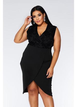 Платье миди черное на запах с бархатом узоры принт глиттер блестки футляр plus size