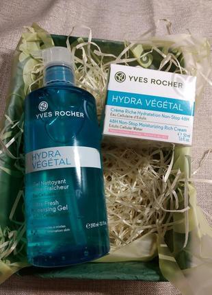 Набор hydra vegetal yves rocher гель для/ умывания 390 мл+ крем для лица 50 мл