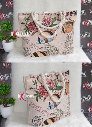 Женская тканевая пляжная сумка морские рыбки