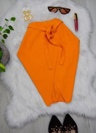 Клёвая яркая рыжая юбка на запах ассиметричная до колена