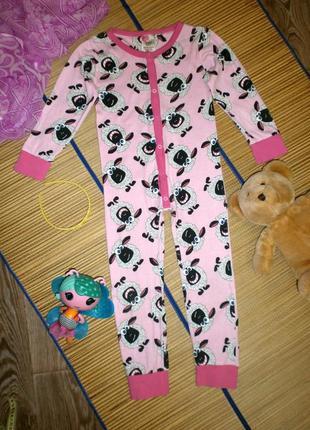 Пижама слип с овечками  для девочки 5-6лет girls