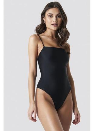 Обнова! купальник монокини сдельный цельный слитный черный с шнуровкой на спине новый