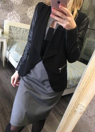 Пиджак с кожзамом