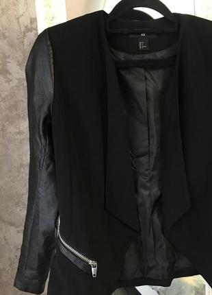 Пиджак с кожзамом2 фото