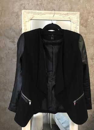 Пиджак с кожзамом3 фото