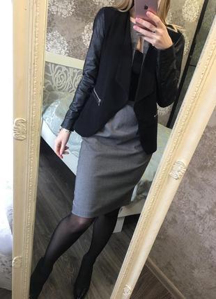 Пиджак с кожзамом5 фото