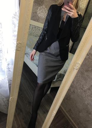 Пиджак с кожзамом6 фото