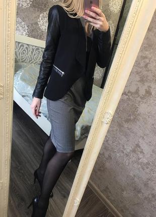 Пиджак с кожзамом7 фото