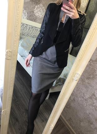Пиджак с кожзамом8 фото