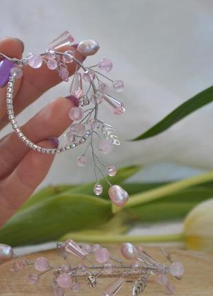 Авторские серьги с розовым кварцем и жемчугом ′ветка сакуры′