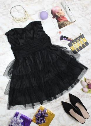Обнова! платье коктейльное корсетное бандо пышное фатин в горох h&m