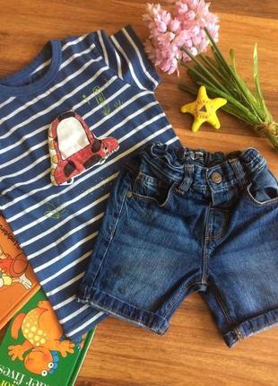 Классный комплект футболка,шорты для мальчишки next 1,5-2 года.