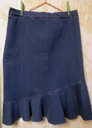 Джинсовая юбка  с оборкой