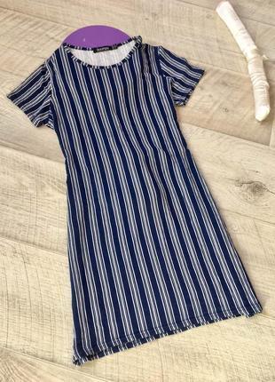 Синее платье рубашка в полоску с бантом