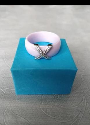 Кольцо розовое керамика колечко керамическое